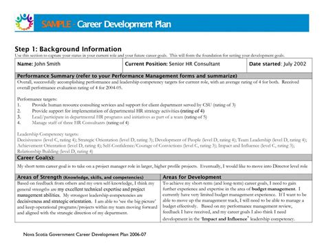 Career Development Plan Template Business Career Succession Planning Template