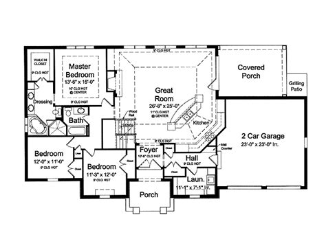 Open Bungalow Floor Plans by Country House Plans Open Floor Plan Cottage House Plans