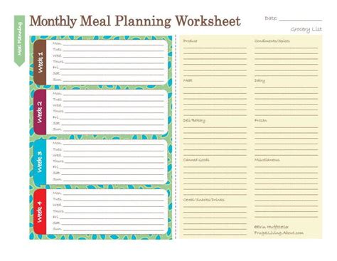monthly meal planner template with grocery list butterflies and daisys vintage s honey