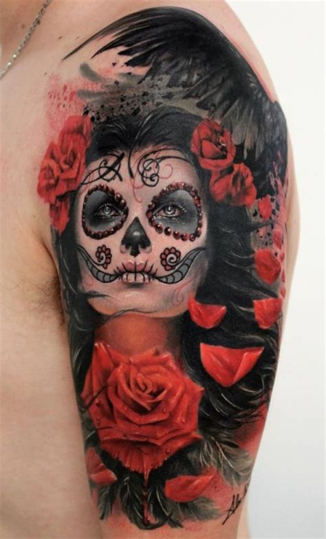 day of the dead roses tattoo d 237 a de los muertos day of the dead sugar skull