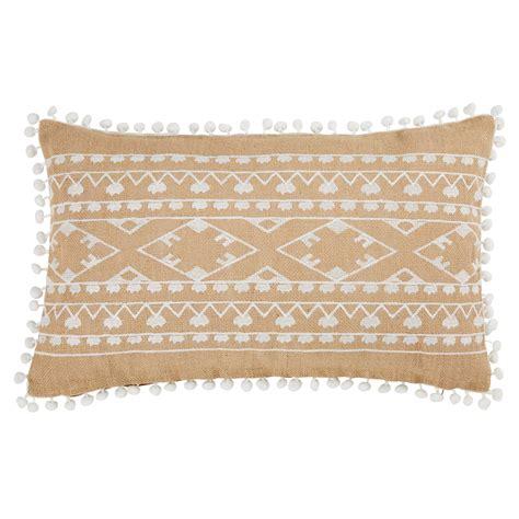cuscini bianchi cuscino in iuta a motivi bianchi con pompon 30x50cm paloza