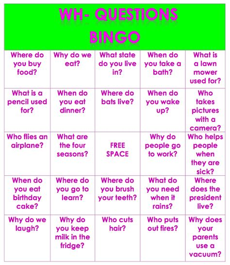 how to make question cards for a board speech and language launchpad wh questions bingo