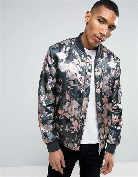 Flower Camouflage Jacket Z418 asos bomber jacket with floral camo print for lyst