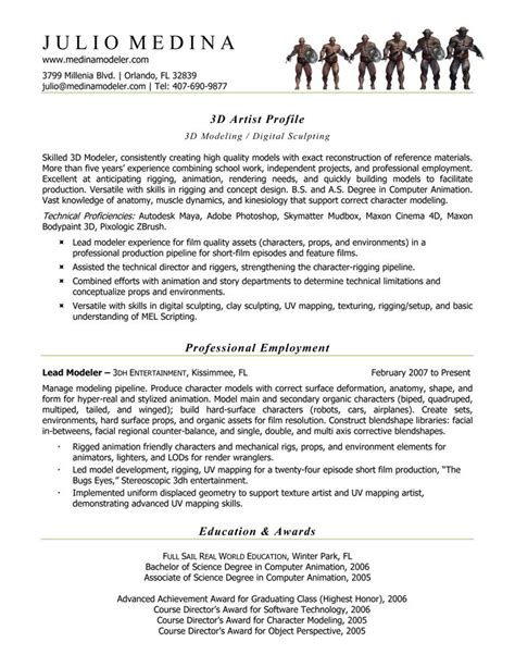 1000 images about computer animation resume sles on back to computer animation