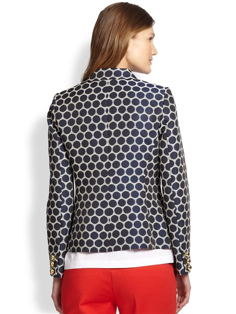 blue patterned blazer lyst kate spade new york millie patterned blazer in blue