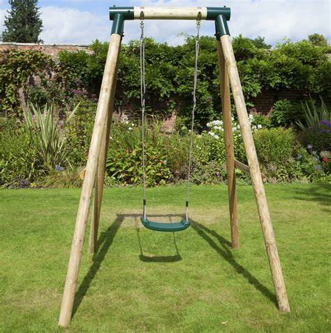 swing set rebo solar wooden garden swing set single swing