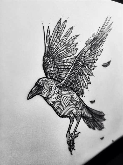 cool geometric line flying raven tattoo design
