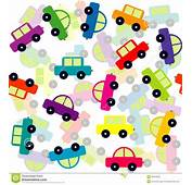 Seamless Background With Colored Toy Cars Royalty Free