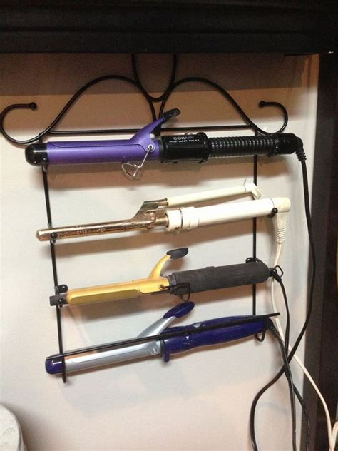 Curling Iron Dryer And Flat Iron Holder Wall Mount White creative hair dryer and curling iron storage ideas hative