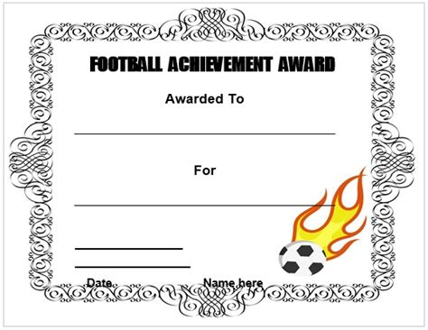 football certificate templates free 30 free printable football certificate templates awesome