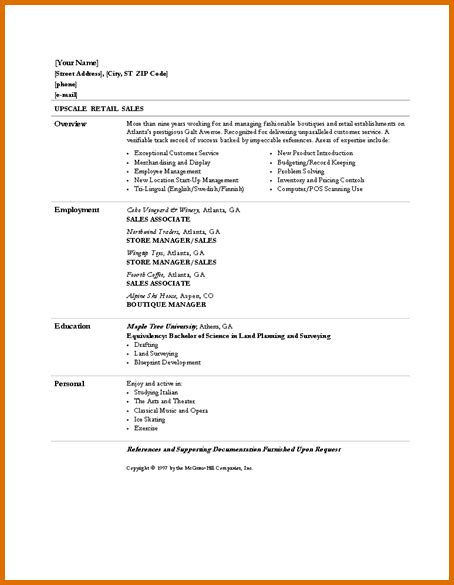 basic resumes sles basic cv templates retailreference letters words