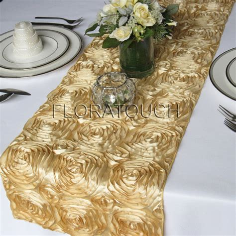 satin ribbon rosette wedding table runner gold by floratouch