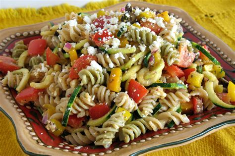 pasta salad vegetarian bright vegetable pasta recipe dishmaps
