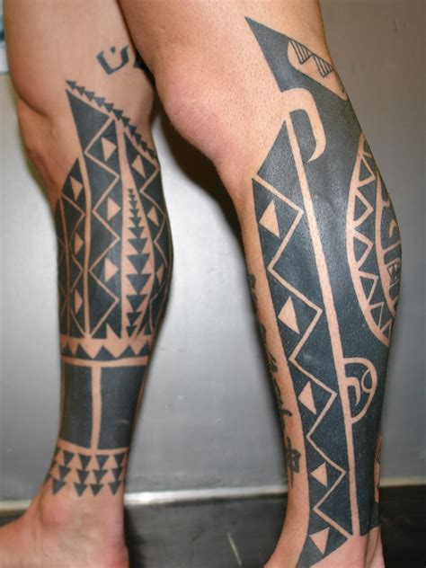 tattoo design at leg tribal leg tattoos