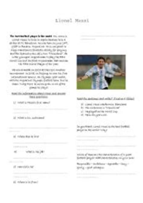 short biography of lionel messi in english english worksheets lionel messi reading comprehension