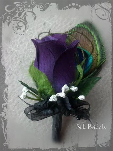 themes rosefeather purple rose peacock feather boutonniere groom groomsmen