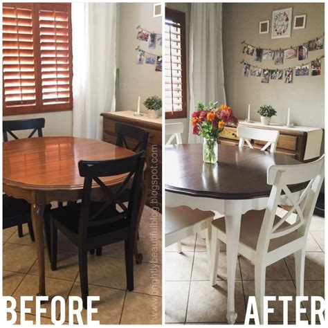 white painted dining table refinished dining table tutorial stained and painted