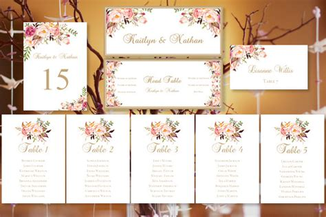 Wedding Seating Place Cards Template by Wedding Seating Chart Quot Blooms Quot Floral Table Sign