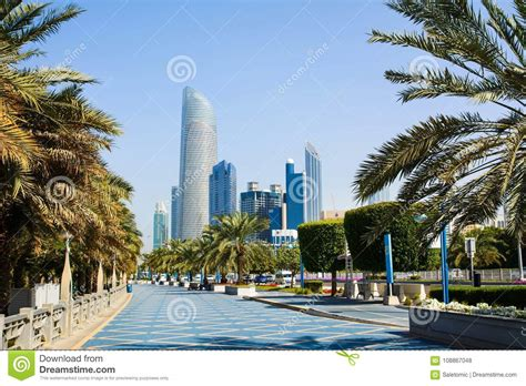corniche area abu dhabi corniche walking area with landmark view of