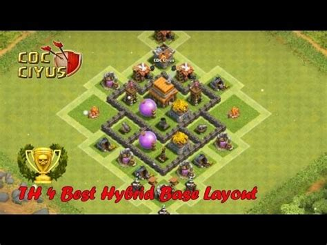 layout editor coc th 4 clash of clans town hall 4 defense coc th4 hybrid base