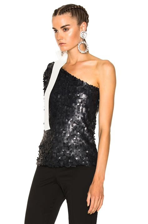 Msgm Top msgm all sequins top in black modesens