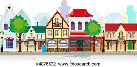 clipart of elegant old street of a small town k4876532