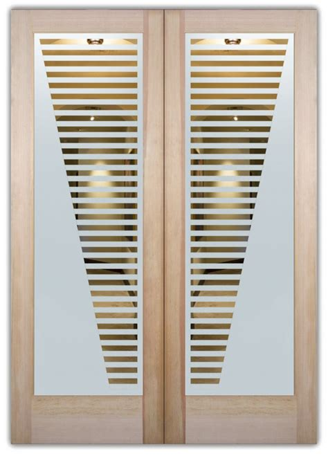 sleek bands etched glass front doors modern design