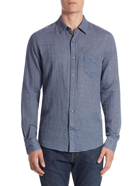 Kemeja Insight Pedrosa Hem Shirt Cotton Casual vince faced cotton casual button shirt in blue for lyst