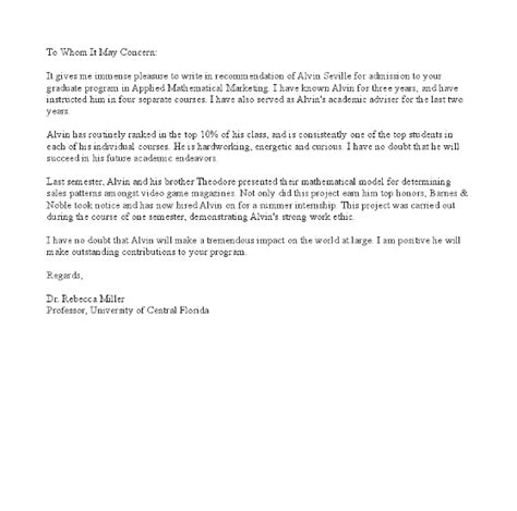 Recommendation Letter For Education Graduate School Recommendation Letter Graduate School