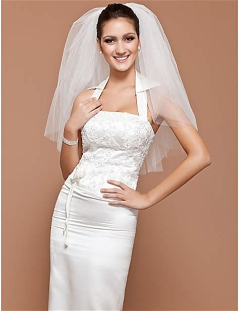Elegant Classic Short Plain Tulle Wedding Bridal Veil