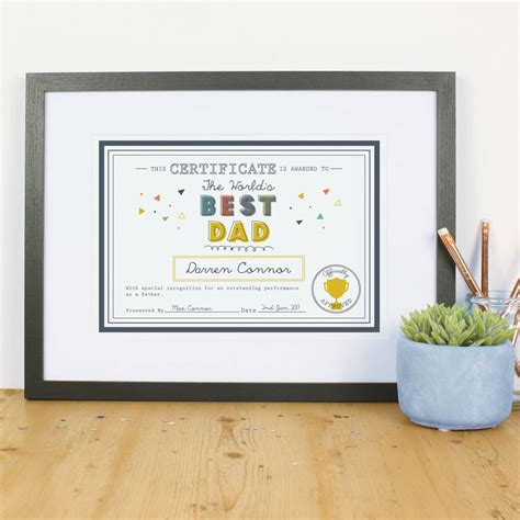 printable gift vouchers high street personalised father s day print dad gift certificate by