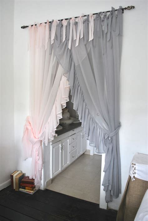 chiffon curtains drapes side ruffle chiffon curtain