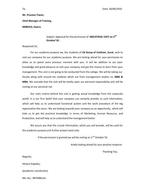 Permission Letter Sle For Industrial Visit Letter For Industrial Visit