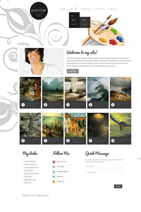 artist portfolio website template web design templates