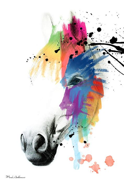 Draw Plans Online horse on abstract painting by mark ashkenazi