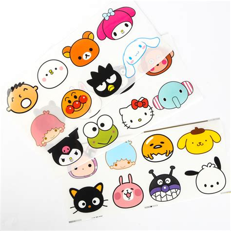 Happy Family Character Sticker 10 sets sanrio figures hello rilakkuma gudetama