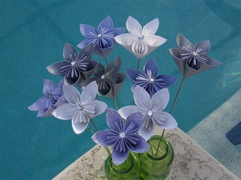Flower Stem Origami - fairyland paper flowers with stem origami kusudama