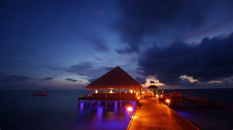 tropical lights lights maldives tropical bungalow sea