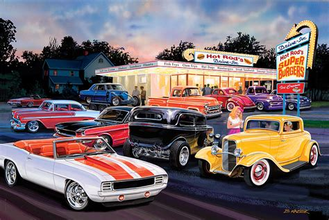 Automotive Wall Murals hot rod drive in photograph by bruce kaiser