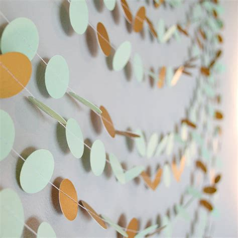 Paper Garland - mint and shimmer gold paper garland by funky frills uk