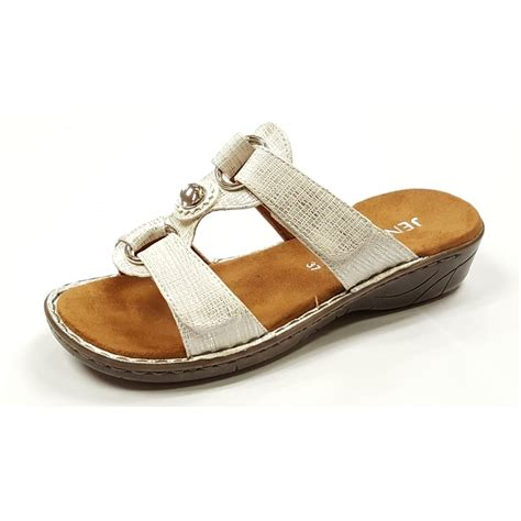 white and silver sandals 57268 70 white silver velcro mule sandal