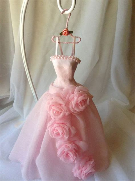 cadenas de papel mache paper mache doll art dress pink chiffon string pearls