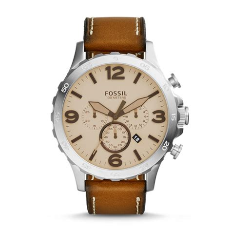 Fossil Nate Chronograph Luggage Leather Set Jr1524 nate chronograph light brown leather fossil