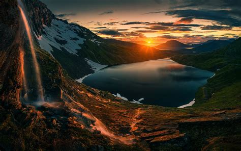 sunset  mountains hd nature  wallpapers images