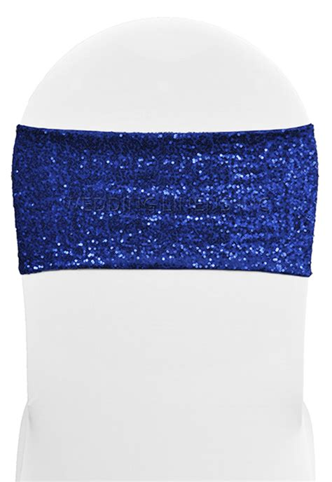 blue chair bands royal blue sequin spandex stretch chair bands sashes