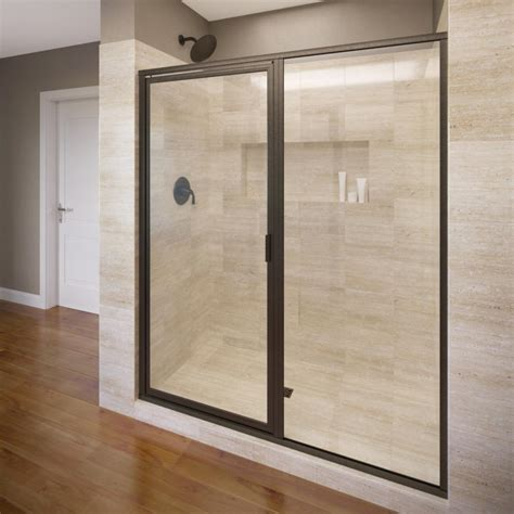 Framed Glass Shower Doors Basco Deluxe 47 In X 68 5 8 In Framed Pivot Shower Door In Rubbed Bronze With Clear Glass