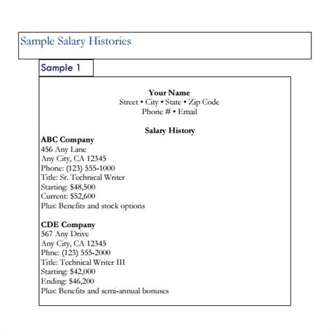 salary history template salary history template 6 free documents in