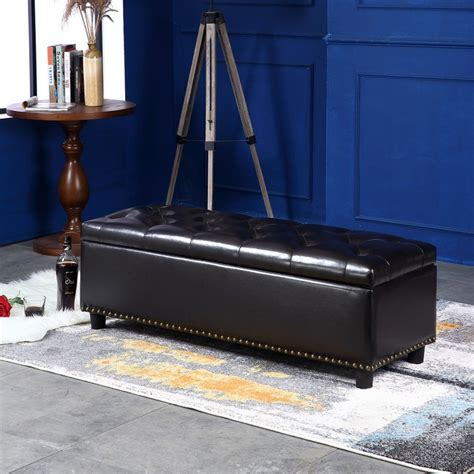 48 x 48 leather ottoman belleze 48 quot rectangular faux leather storage ottoman bench