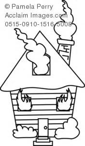 burning house coloring page images