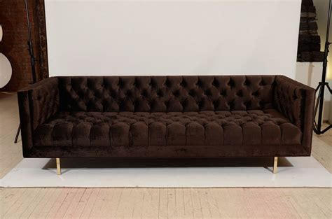 Modern Tufted Velvet Tuxedo Sofa For Sale At 1stdibs Tufted Velvet Sofa
